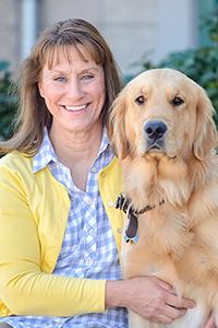 Team member Dr. Zirbel and her dog